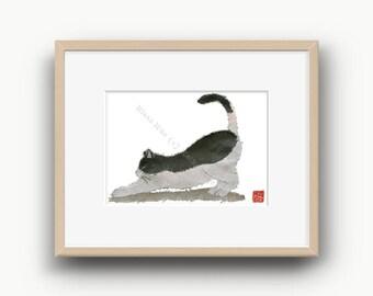 Cat Art, Minimalist Cat, Yoga Cat, Black And White Cat