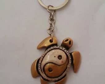 Gold turtle, turtle keyring, white and gold keying,  ying yang accessory,  ying yang turtle