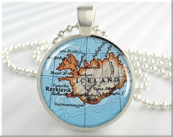 Iceland Map Pendant, Reykjavik Iceland Map Necklace, Picture Pendant, Round Silver, Gift Under 20, Travel Gift 698RS