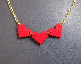 Red 8-Bit Pixel Life Bar Hearts Gold Chain Necklace, Laser Cut Acrylic