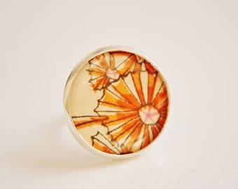 "Orange ethnic ring ""Tisséa"""