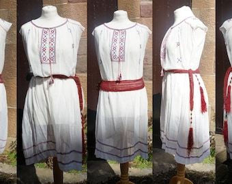 20s Hand Embroidered Sheer Cotton Gauze Hippie/ Boho/ Festival /Ethnic/ Folk/ Gypsy/Hungarian/Romanian/Flapper/Art Deco Dress