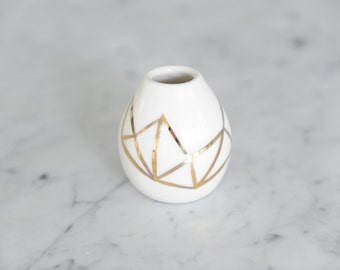 18K Handpainted Gold Porcelain Wee Bud Vase- Fitzgerald Collection