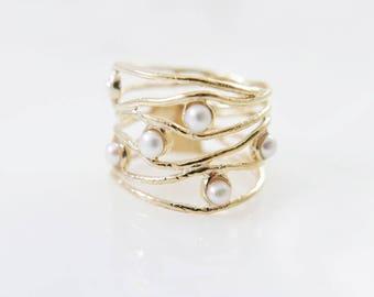 Gold Pearl  ring. Pearl ring.  Pearl gold ring. Wide ring.  Wide  Pearl ring. Wave gold ring. Wave  Pearl ring.  Pearl jewelry. Gift