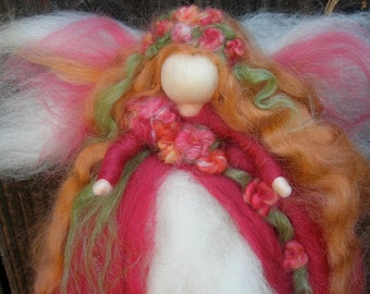 Wool Angel - Ethereal Garden Fairy - Wool needle felted fairy ornament or wall hanging- Waldorf-inspired