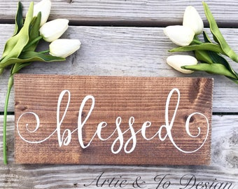 Rustic Blessed Sign Wood Board Fall Decor- Mantle Decor- Customizable