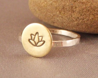 Lotus Ring - Silver and Brass - Mixed Metals