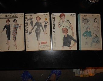 package of 4 patterns, 1940s dresses, size 18