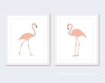Flamingo Prints - Flamingo Wall Art - Tropical Bird Art - Modern Decor - Custom Color - Aldari Art
