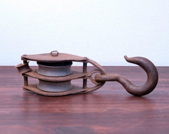 Vintage Cast Iron Block and Tackle. Pully with Hook. Circa 1930's.
