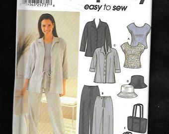 Simplicity 7182 Misses' Casual Pants Over Shirt, And Capped Sleeve Top, With Hat, And Bag, Sizes 8 To 14, UNCUT
