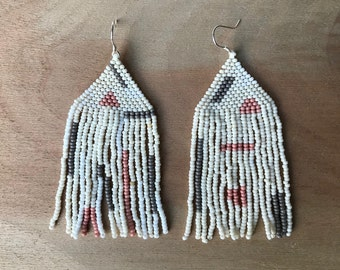 White, Pink, and Gray Woven Fringe Earrings