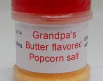 Butter Flavored Popcorn Salt. The perfect match for the perfect popcorn!