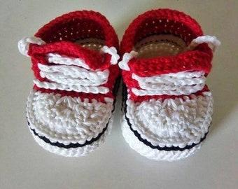 Baby booties - Crochet converse - Photo prop - Baby summer shoes