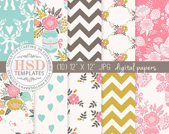 Rustic Digital Paper - Shabby Chic Digital Paper - Floral Digital Scrapbook Paper - Digital Backgrounds - Chevron Digital Paper DP133