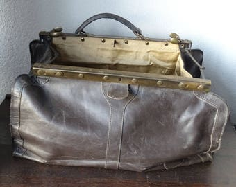 Antique Doctor's Bag, Antique Medical Bag, Large Doctor's Bag