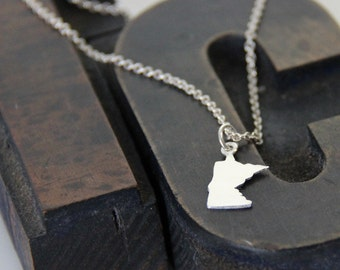 Sterling Minnesota Necklace, Custom State Necklace- Free Shipping