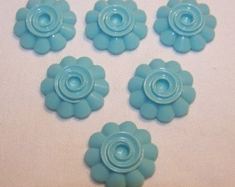 Vintage Lucite Turquoise Swirled Flower Cabochon cab090B