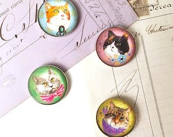 Cat Magnet Set, Cat Refrigerator Magnets, Cat Fridge Magnets, Cute Cat Magnets, Cat Face Magnet, 1 Inch Round, Cat Lover