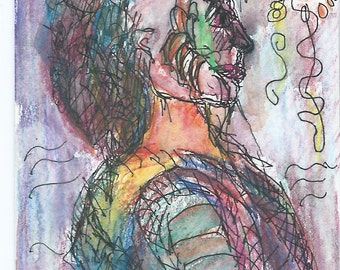 Original ACEO Watercolor and Ink Painting- Facing the Sun