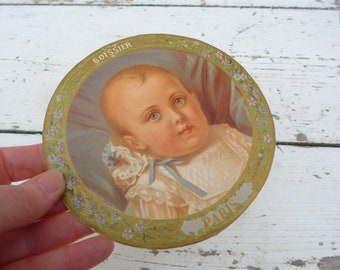 Vintage Antique 1890/1900s French Victorian chromolithograph rounded label figuring a baby BOSSIER