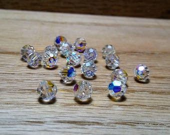 Faceted Round Swarovski Beads, Crystal AB, 6mm, 18ct.