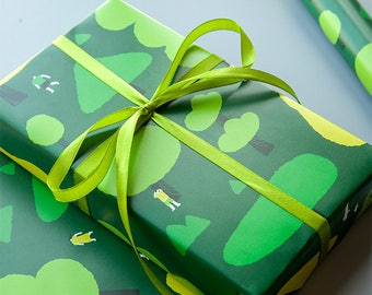 Forest Wrapping Paper,Birthday Gift Wrap,Green Woodland Wrapping Sheets,Holiday Gift Wrap