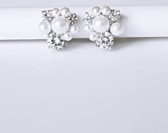 Blossoms Diamante Pearl Clip Earrings Cocktail Earrings Perfect Gifts For Her Corporate Gifts