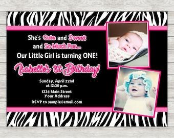 Diva 1st Birthday Invitation, Zebra Girl Birthday Invitation - Digital File (Printing Services Available)