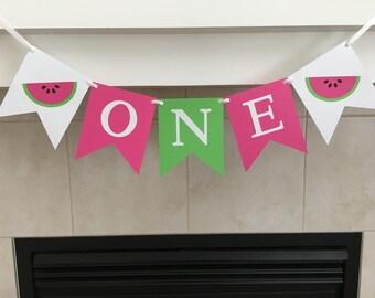Watermelon One Banner, Watermelon Highchair Banner, First Birthday, 1st Birthday Banner, One Banner, Photo Prop, Baby's First Birthday,