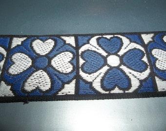 "Tapestry Jacquard Ribbon Trim Tudor Rose Blue/White Heart Trim Mid Century Vintage 1960s 60s  3 Yards X 1.75"" Wide"