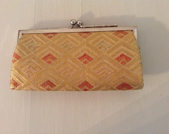 Vintage Gold And Orange Metallic Change Purse