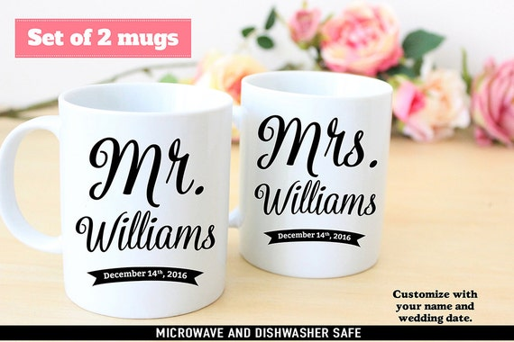 Set of Mr and Mrs Name Wedding Coffee Mugs - Customize with Your Last Name and Wedding Date - Great Wedding Gift for Newly Married Couple