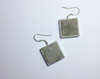 Large Concrete Squares in Silver Frames Sterling Silver Earrings . Minimalistic Simplistic Design Modern Unique Concrete Mixed Media