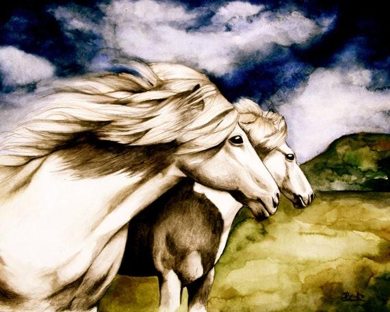 art print horses  with blue sky