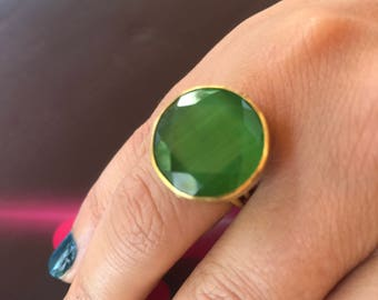 Gemstone ring, Quartz ring, Cat eye ring, Green ring, Gold filled ring, Adjustable ring, Green quartz