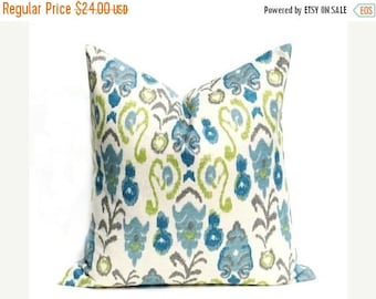 15% Off Sale BLUE pillow Cover Decorative Pillow, Euro pillow,  Green Pillow - Burlap Pillow - Ikat - Accent Pillow - Cushion Cover -Frost B