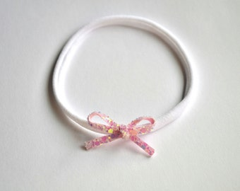 Tiny Dainty Pastel Pink Glitter Bow Headband Photo Prop Headband for Newborn Baby Little Girl Child Spring Summer Nylon Headband OSFA