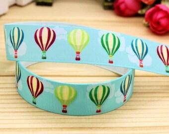 "Hot Air Balloon Blue Printed Grosgrain Ribbon 7/8"" Wide Scrapbooking Hair Bows Parties DIY Projects"