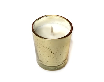 Soy Candles scented with essential oils, premium quality, gold reusable container