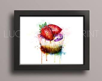 Watercolor Cake Art Print, Cake Painting, Kitchen Wall Art, Wall Decor, Fruit Art Print, Watercolor Fruit Print, Strawberry Wall Decor LU-47