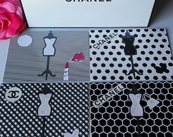 "Set of 4 Handmade Designer Cards from my new line called ""The Posh Paper Gallery."""