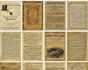 BOOK PAGES - Digital Printable Collage Sheet - 16 Old Vintage Distressed Book Pages with Foreign Text, Calligraphy, Sheet Music,  Diagrams