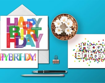 Happy Birthday Card Bundle, Set of 3 Different Bright and Cheerful Birthday Greeting Cards, For Friends Birthday, His Birthday, Her Birthday