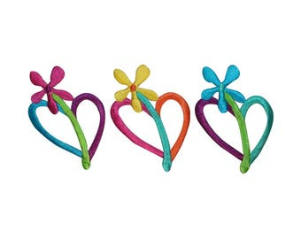 ID 3279ABC Set of 3 Flower Heart Patches Valentines Embroidered Iron On Applique