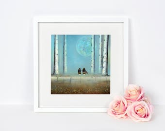 Bee and Moon Fine Art Print - Nature Painting - Nursery and Home Decor - Wildlife Artwork - Wall Art - Bee Picture - Christmas Gift Idea