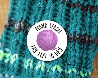 "Yarn Care Instructions Stickers - 1.625 x 1.625"" Circles 24 Per Sheet - Handwash Lay Flat To Dry Handmade Yarn Knit Crochet Sticker Labels"