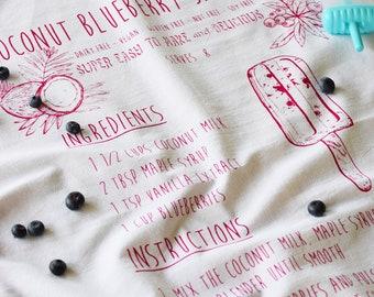 Tea Towel - Organic Tea Towel - Tea Towel Flour Sack - Organic Cotton - Kitchen Towels - Screen Print Tea Towels - Recipe Tea Towels