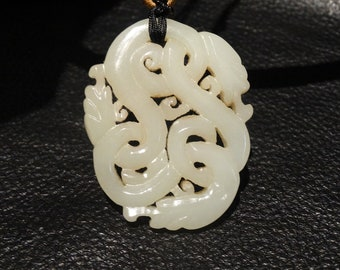 Hetian Jade Pendant Necklace, Mutton Fat Nephrite Dragons, Qing Dynasty 18/19 Century