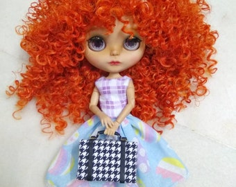 Houndstooth-print suitcase / luggage for Barbie, Blythe, and other 12 inch dolls